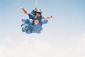 happy chipmunk face - skydiving and my face as a wind sock