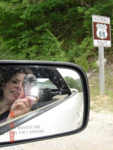 rear view mirror shot of Route 66 sign