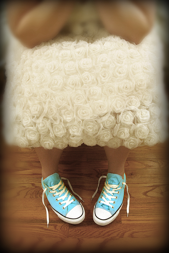 Dolly Couture dress and Teal Converse Chuck Taylors