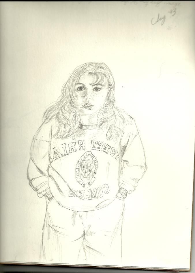 sketch of teen girl