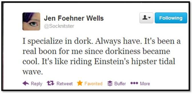 tweet by Jen Foehner Wells
