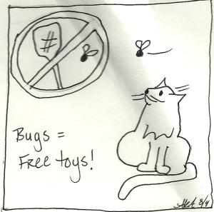 Cartoon of houseflies as free cat toys